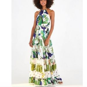 NWT FARM Rio Mitra Halter Maxi Dress